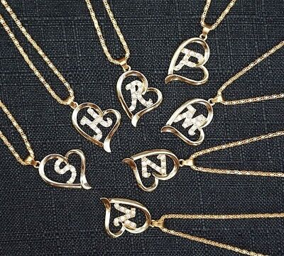 Ladies Necklaces Initials Crystal Letter Alphabet Hearts Copper Love For Woman
