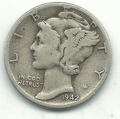 A Vintage Very Nice 1942 D Mercury Silver Dime-Old Us Coin-Dec211