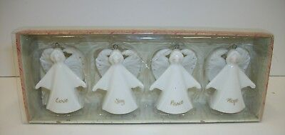 Russ Berrie Ceramic Angels Christmas Ornaments - Boxed Set of 4 - Touch of Grace