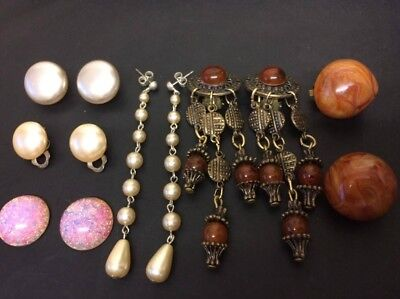 Job Lot Vintage Costume Amber Lucite Pearl Bead Pink Opal Dangle Earrings &parts