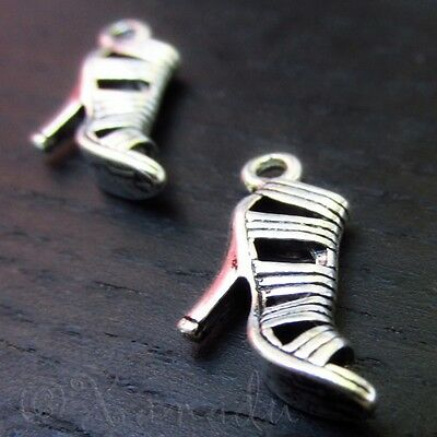 High Heel Shoe Wholesale Antiqued Silver Plated Charms C1116 - 10, 20 Or 50PCs