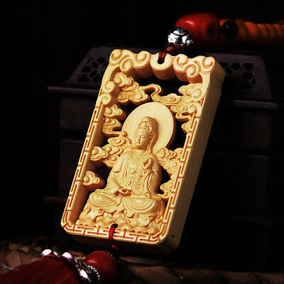 Hollow Out Wood Carved Chinese Guan Kwan Yin Double Sides Sculpture Car Hanger