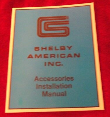 """""""NEW"""" 1965-1966 Shelby American Inc. Accessories Installation Manual """"NEW"""""""