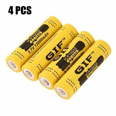 4pcs 3.7V 18650 12000mah Li-ion Rechargeable Battery For LED Flashlight Torch CH