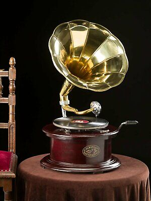 Gramophone With Brass Horn ~ Record Player - 78 rpm vinyl phonograph Hexagonal