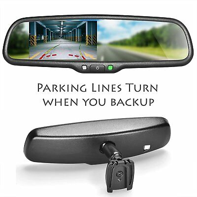 "Master Tailgaters Rear View Mirror with 4.3"" LCD and DYNAMIC Parking Lines"