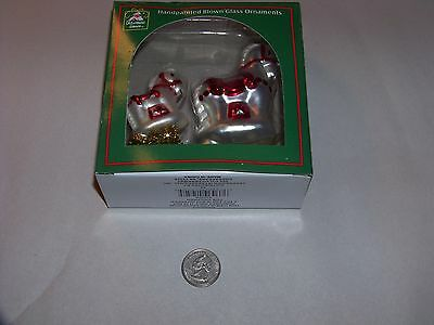 Pair of blown glass white horse ornaments with red accents - new in box