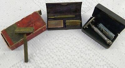 (3) Safety Razors VALET Open Comb by Auto Strop NEW GILLETTE Dual Comb Cases Box