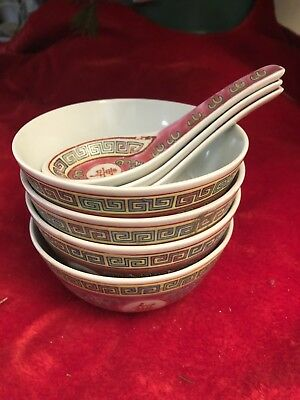 Chinese Rice/Soup Bowls and Spoon/Ladles