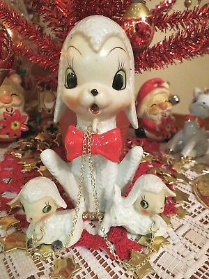 Vtg Lambs SET OF THREE Mama W Red Bow Tie Babies Chain Leashes White Pebbled Fur