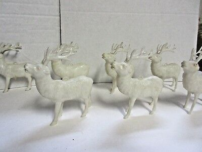 Vintage Lot 7 Celluloid White Plastic Reindeer W/ Antlers Ornaments