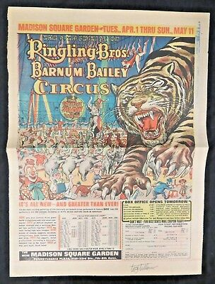 1969 tiger Ringling Brothers and Barnum & Bailey Circus vintage print ad  Signed