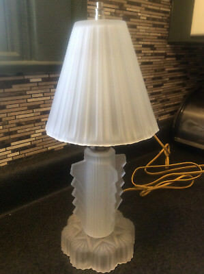 Vintage art deco frosted glass boudoir bedroom table lamp