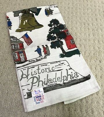 Vtg Linen Tea Towel Kitchen Collectible Souvenir of Historic Philadelphia NWT