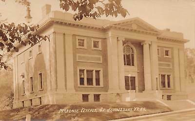 Masonic Temple, St. Johnsbury VT, Real Photo RPPC Postcard