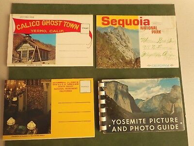 Lot 4 Vintage Souvenir Folders Travel Photos Yosemite CA Sequois Calico Ghost DV