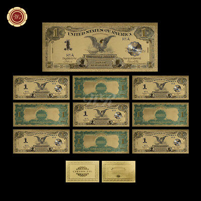 WR 10pcs 1899 $1 Silver Certificate Gold Banknote Color Gold US Black Eagle Bill