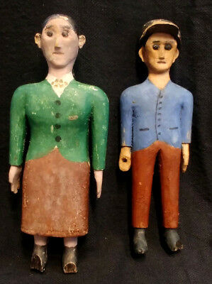 Old Carved And Painted Wood Folk Art Figures