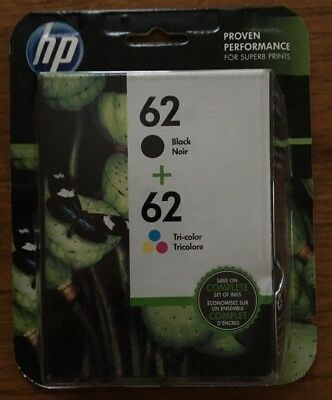 HP 62 BLACK + 62 TRI-COLOR INK CARTRIDGE NEW & SEALED EXP July 2017