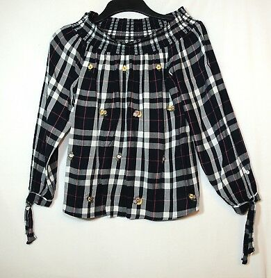 Navy Blue White Check Ladies Casual Top Blouse Size 14 New Look Off Shoulder