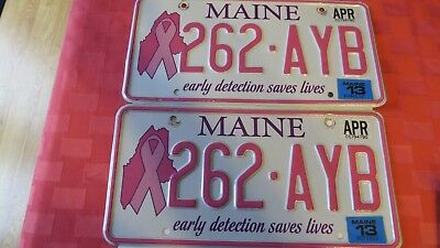 """Pair Of 2013 Maine Breast Cancer Pink License Plates """"early Detection Saves Live"""