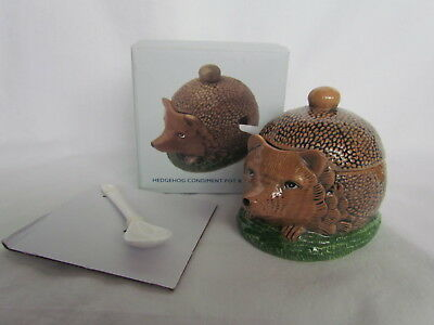 Fun Novelty Original Cath Kidston Hedgehog Condiment Pot & Spoon - Bnib