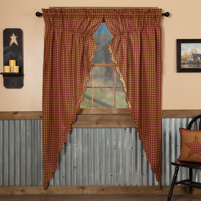 Burgundy Check Scalloped Cotton Country Cottage Window Long Prairie Curtains
