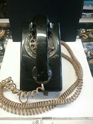 Vintage Wall Phone Bell System Western Electric Black Rotary Telephone #554 BMP