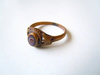 Alter Messing Ring mit Seeopal/Abalone Gr 53 / 1,8 g /Breite 0,8 cm