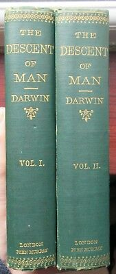 Charles Darwin - The Descent of Man - 1871 2 vol UK 1st HB - Theory of evolution