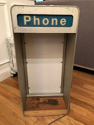 Vintage Aluminum Payphone Enclosure Pay Phone Telephone Booth LIGHTS UP!!