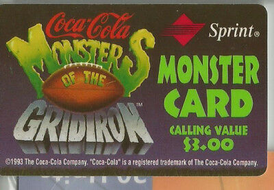 Monsters of the Gridiron - Sprint/ CocaCola $3  Phone Card - 1994