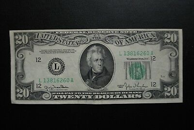 Series 1950 $20 Black Seal Note Printed Off Center