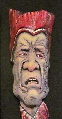 original wood spirit carving, medieval lord,  red hat, one of a kind, OTTER