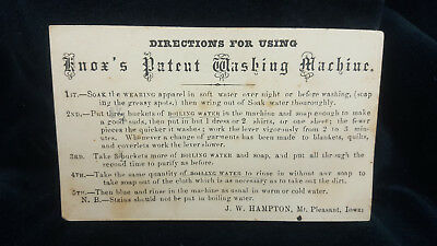 Antique Knox's Patent Washing Machine Directions For Use Card