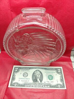 *Antique* Native American Chief and Bison Transparent Glass Coin Piggy Bank