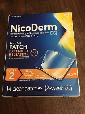 Nicoderm CQ Step 2 Clear Nicotine Patches 14mg 14ct Exp Aug 2019 (Damaged Box)