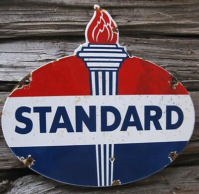 Vintage Standard Oil Torch Gasoline Porcelain Enamel Oil Gas Pump Metal Sign