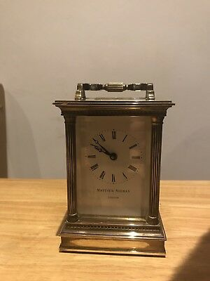 LOVELY MATTHEW NORMAN CARRIAGE CLOCK GREAT WORKING ORDER With Key