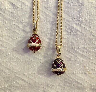 2 Enamel & Crystal Faberge Egg Pendant Charms & Gold Plated Necklaces