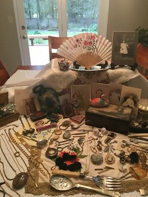 Huge Vintage Antique Junk Drawer Lot-Brooch Pins-Skeleton Keys-Old Photos & More