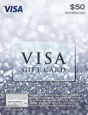 Visa 50 Dollar Card +4.95 Act. Fee included in price 2 Day Shipping holiday Gift