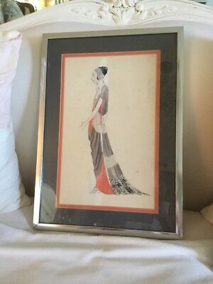 Antique Vtg Deco Signed Painting Illustration art Print Fashion 1919 Ny School