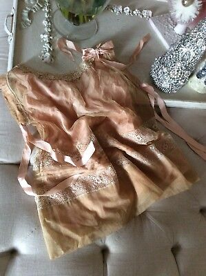 SHABBY Antique VTG Net Lace Doll Child Dress Pink Ribbon Victorian OLD