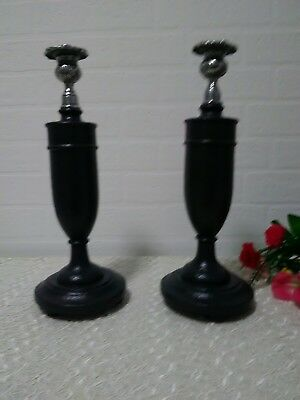 Vintage Pair Of Art Deco Hand Painted Oak And Chrome Candlesticks
