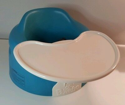 Blue Bumbo Baby Seat With Safety Straps Removable White Tray Hardly Used Nice!!!