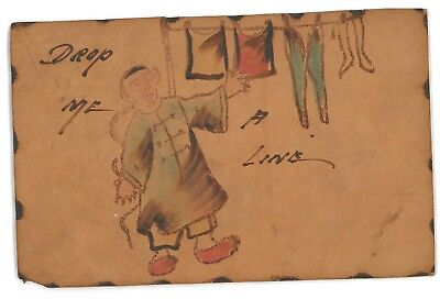 Drop Me a Line Racist Chinese Stereotype Ethnic Vintage LEATHER Postcard
