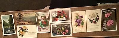 Job Lot Of 9 Old Birthday Post Cards, Some 1930's, Some Embossed.