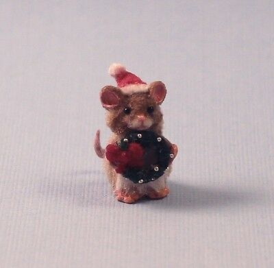 Miniature Christmas Mouse OOAK With Miniature Santa Hat, Wreath, Handmade