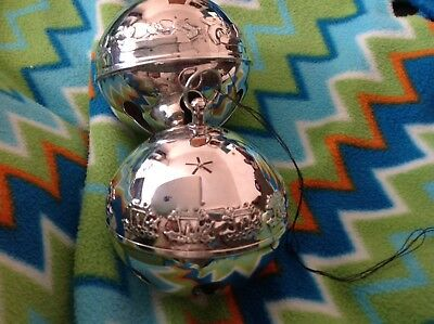 VINTAGE 1984 and 1998 WALLACE CHRISTMAS SILVER PLATE SLEIGH BELL ORNAMENTS